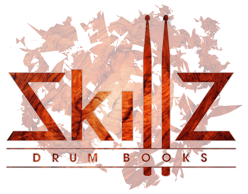 This is an image of the logo of drum book publishing Skillz Drum Books in bubinga on a transparent background